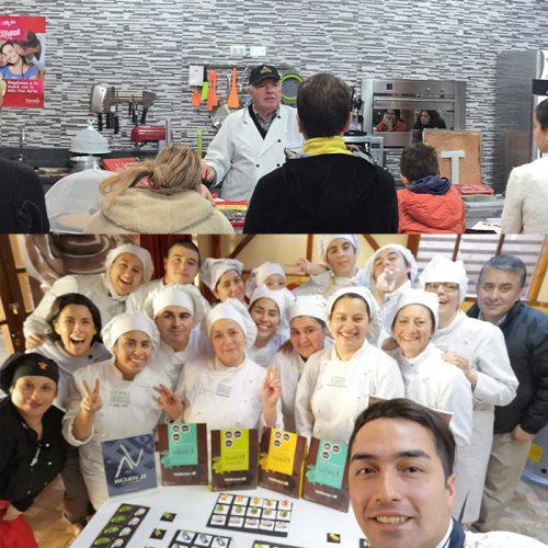 Nuestros embajadores haciendo clases de Chocolatería con Neucober